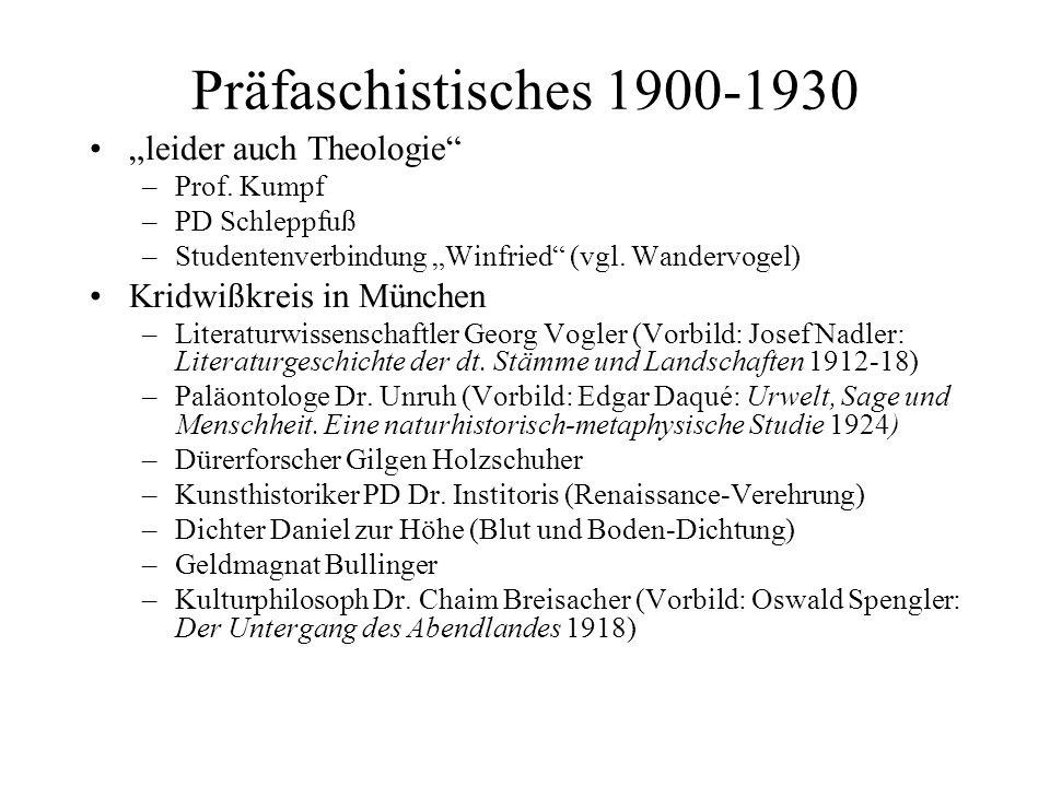 Präfaschistisches 1900-1930 leider auch Theologie –Prof. Kumpf –PD Schleppfuß –Studentenverbindung Winfried (vgl. Wandervogel) Kridwißkreis in München