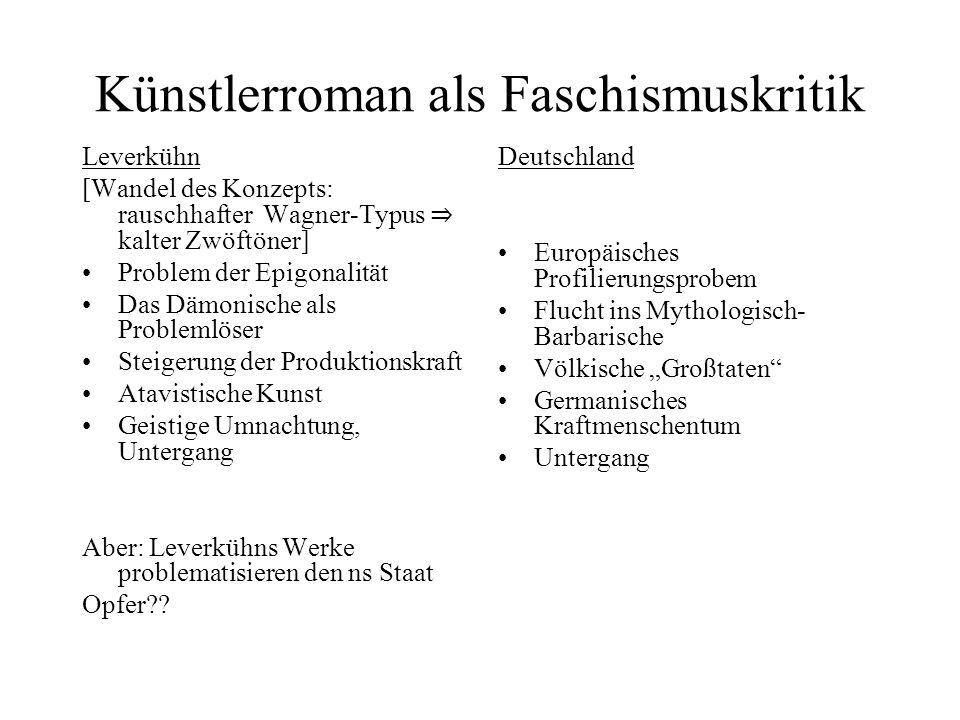 Künstlerroman als Faschismuskritik Leverkühn [Wandel des Konzepts: rauschhafter Wagner-Typus kalter Zwöftöner] Problem der Epigonalität Das Dämonische