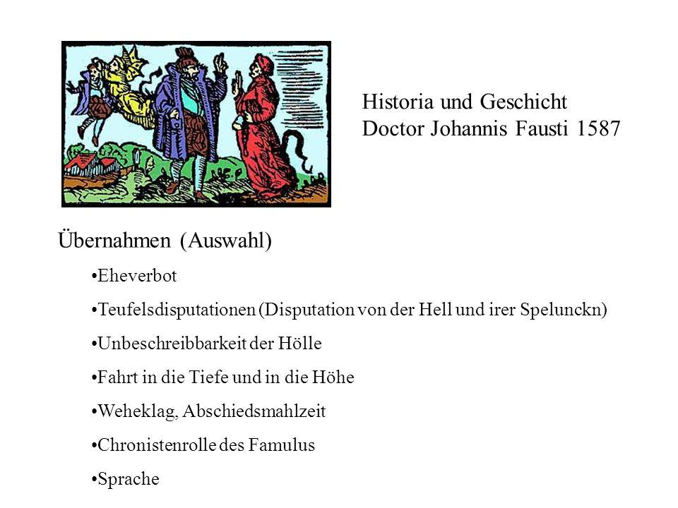 Historia und Geschicht Doctor Johannis Fausti 1587 Übernahmen (Auswahl) Eheverbot Teufelsdisputationen (Disputation von der Hell und irer Spelunckn) U