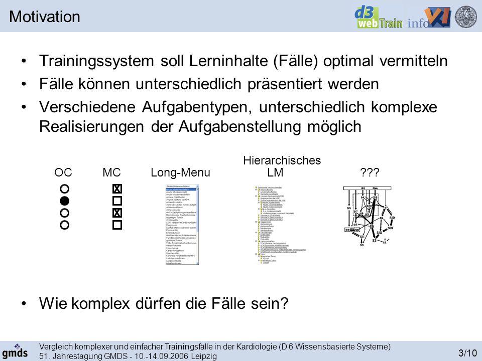 Vergleich komplexer und einfacher Trainingsfälle in der Kardiologie (D 6 Wissensbasierte Systeme) 51. Jahrestagung GMDS - 10.-14.09.2006 Leipzig 3/10