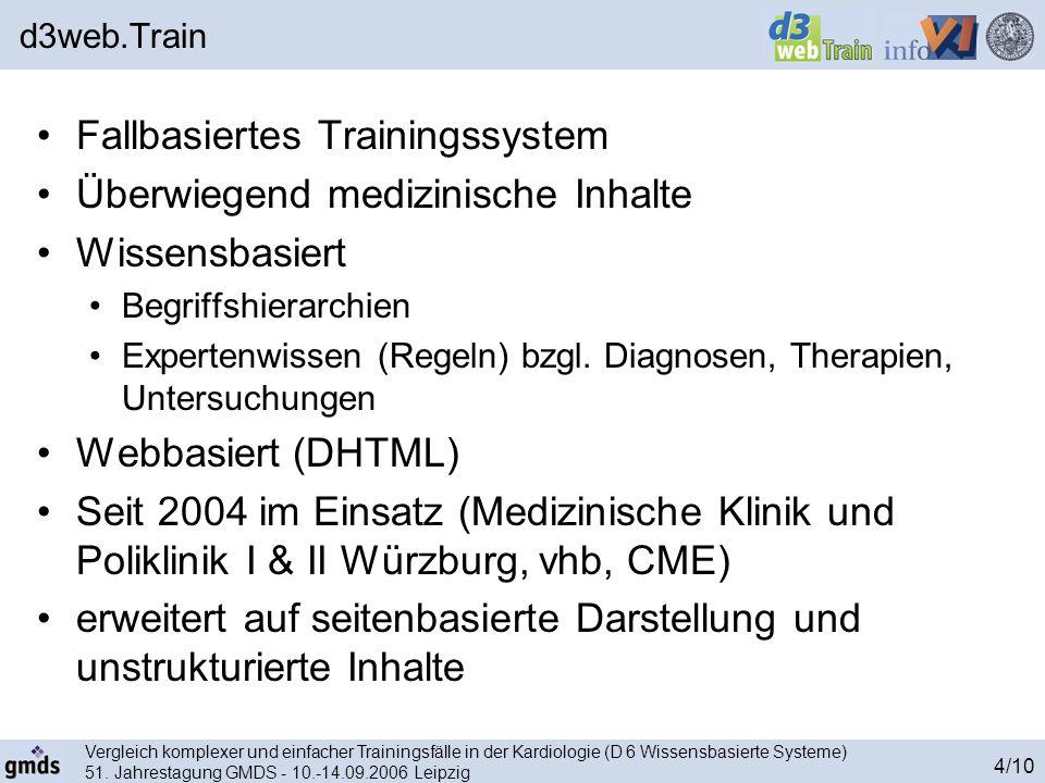 Vergleich komplexer und einfacher Trainingsfälle in der Kardiologie (D 6 Wissensbasierte Systeme) 51. Jahrestagung GMDS - 10.-14.09.2006 Leipzig 4/10
