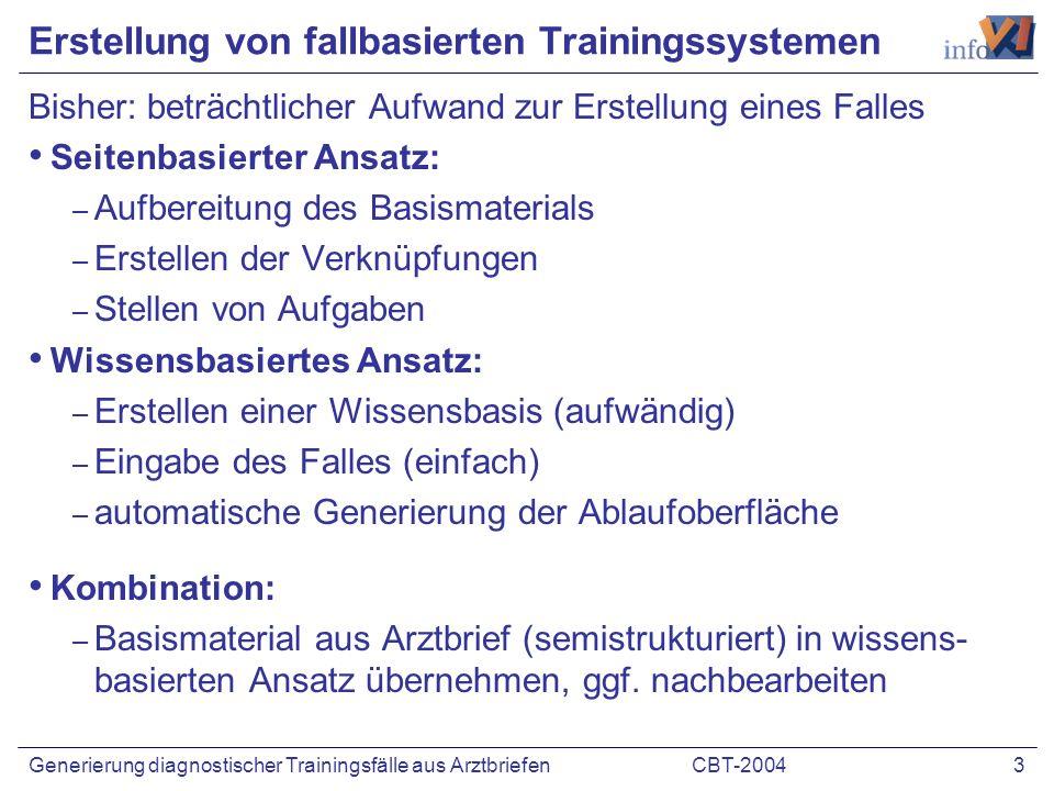 CBT-2004 3Generierung diagnostischer Trainingsfälle aus Arztbriefen Erstellung von fallbasierten Trainingssystemen Bisher: beträchtlicher Aufwand zur
