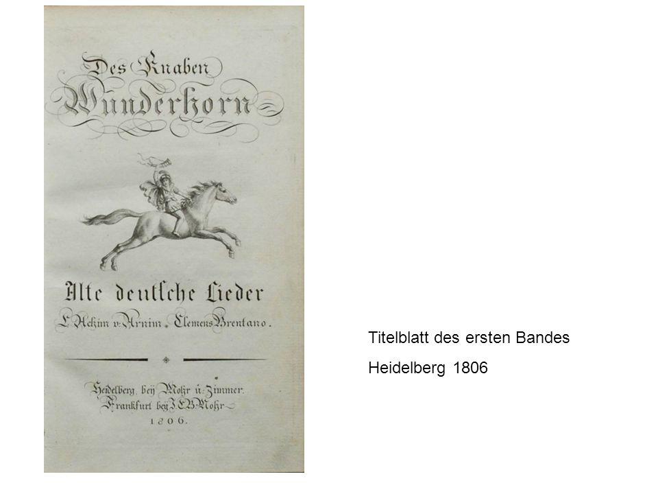 Titelblatt des ersten Bandes Heidelberg 1806