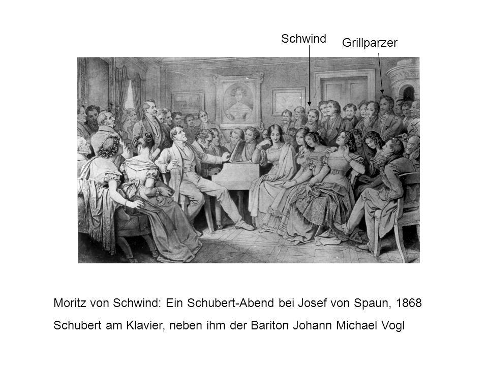 Grillparzer Schwind Moritz von Schwind: Ein Schubert-Abend bei Josef von Spaun, 1868 Schubert am Klavier, neben ihm der Bariton Johann Michael Vogl
