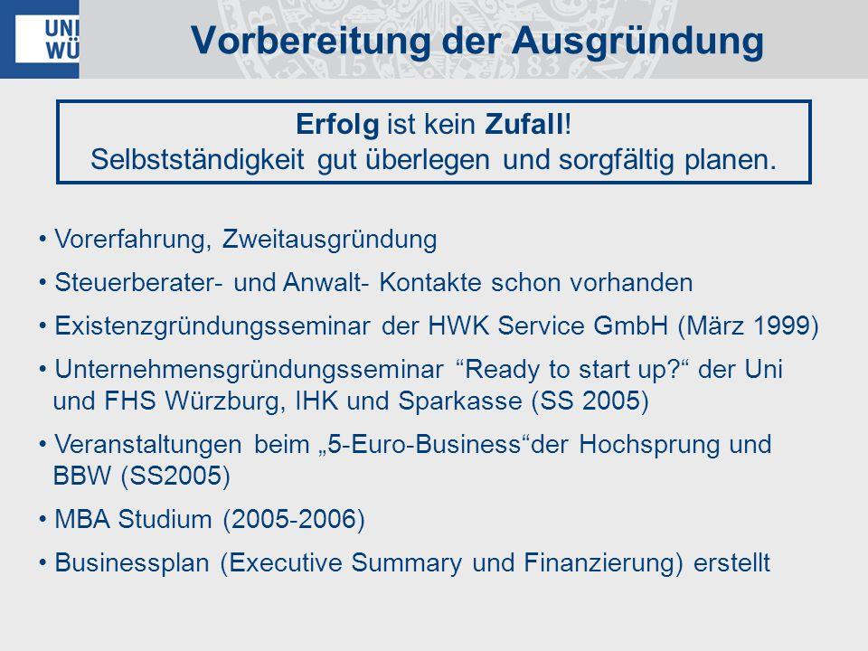Vorerfahrung, Zweitausgründung Steuerberater- und Anwalt- Kontakte schon vorhanden Existenzgründungsseminar der HWK Service GmbH (März 1999) Unternehm