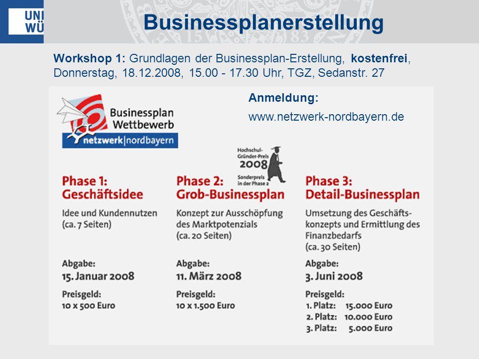 Workshop 1: Grundlagen der Businessplan-Erstellung, kostenfrei, Donnerstag, 18.12.2008, 15.00 - 17.30 Uhr, TGZ, Sedanstr. 27 Businessplanerstellung An
