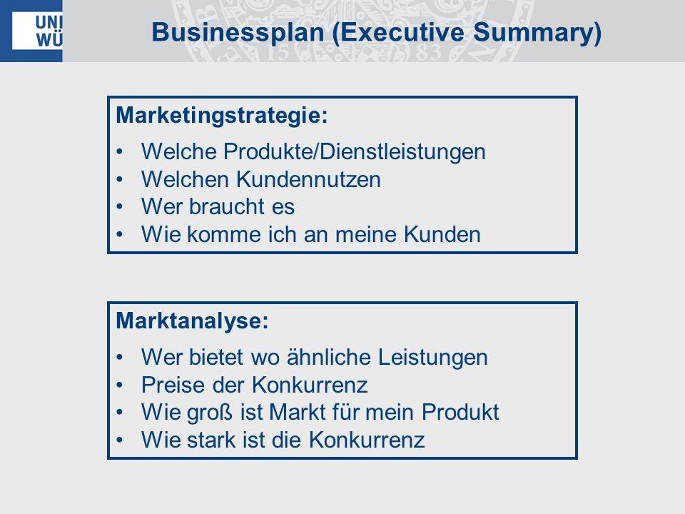 Businessplan (Executive Summary) Marketingstrategie: Welche Produkte/Dienstleistungen Welchen Kundennutzen Wer braucht es Wie komme ich an meine Kunde