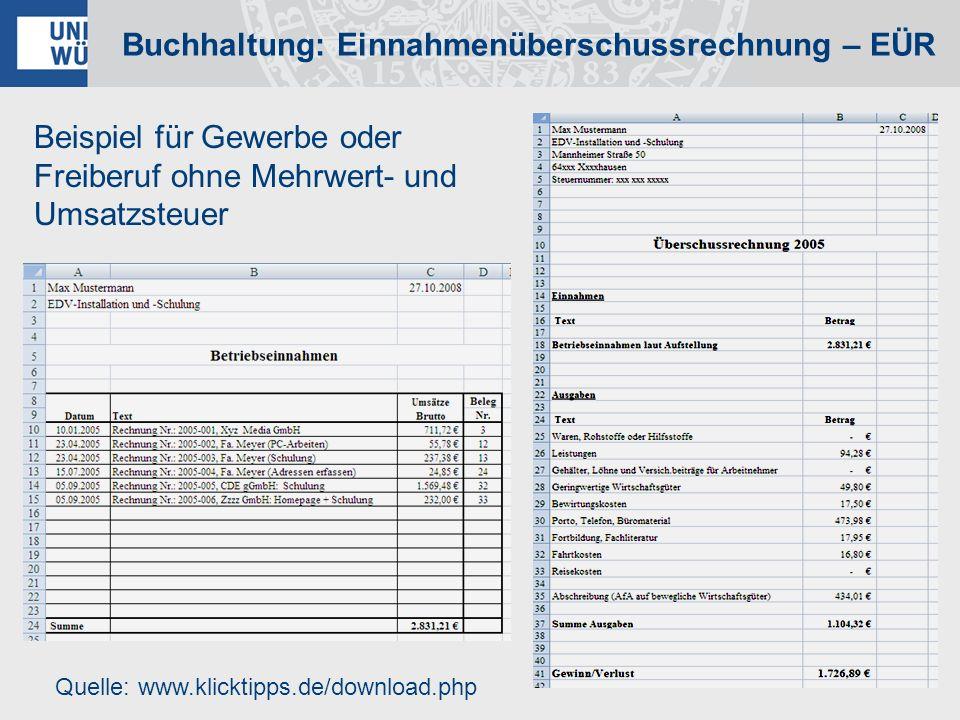 Beispiel für Gewerbe oder Freiberuf ohne Mehrwert- und Umsatzsteuer Quelle: www.klicktipps.de/download.php Buchhaltung: Einnahmenüberschussrechnung –