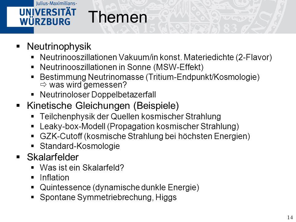 14 Themen Neutrinophysik Neutrinooszillationen Vakuum/in konst.
