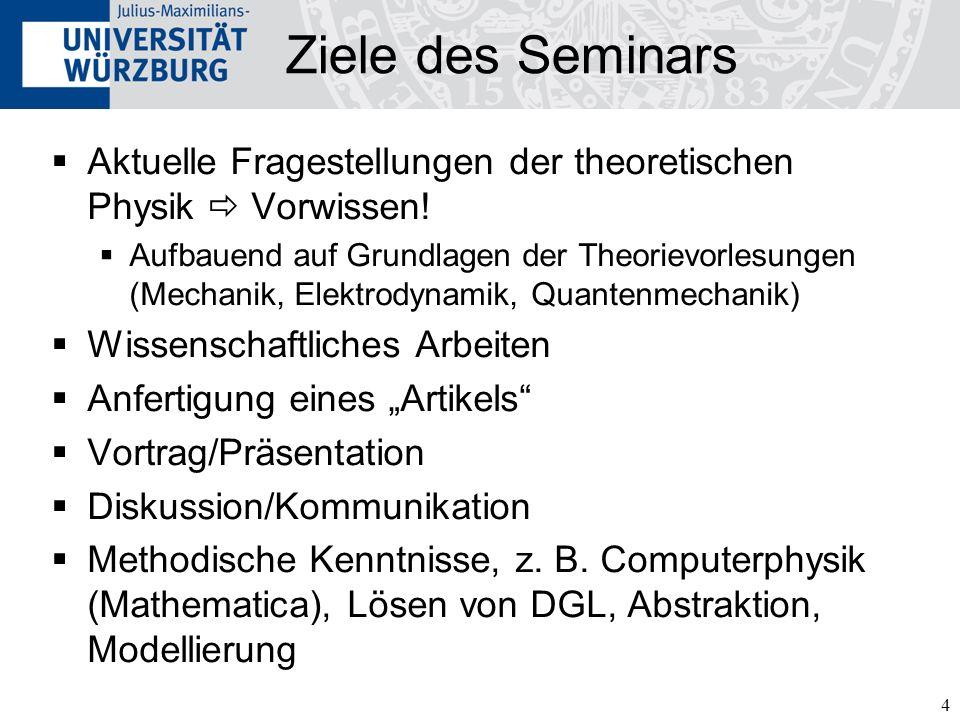 4 Ziele des Seminars Aktuelle Fragestellungen der theoretischen Physik Vorwissen.