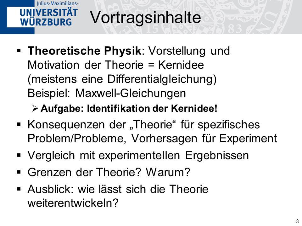 8 Vortragsinhalte Theoretische Physik: Vorstellung und Motivation der Theorie = Kernidee (meistens eine Differentialgleichung) Beispiel: Maxwell-Gleichungen Aufgabe: Identifikation der Kernidee.