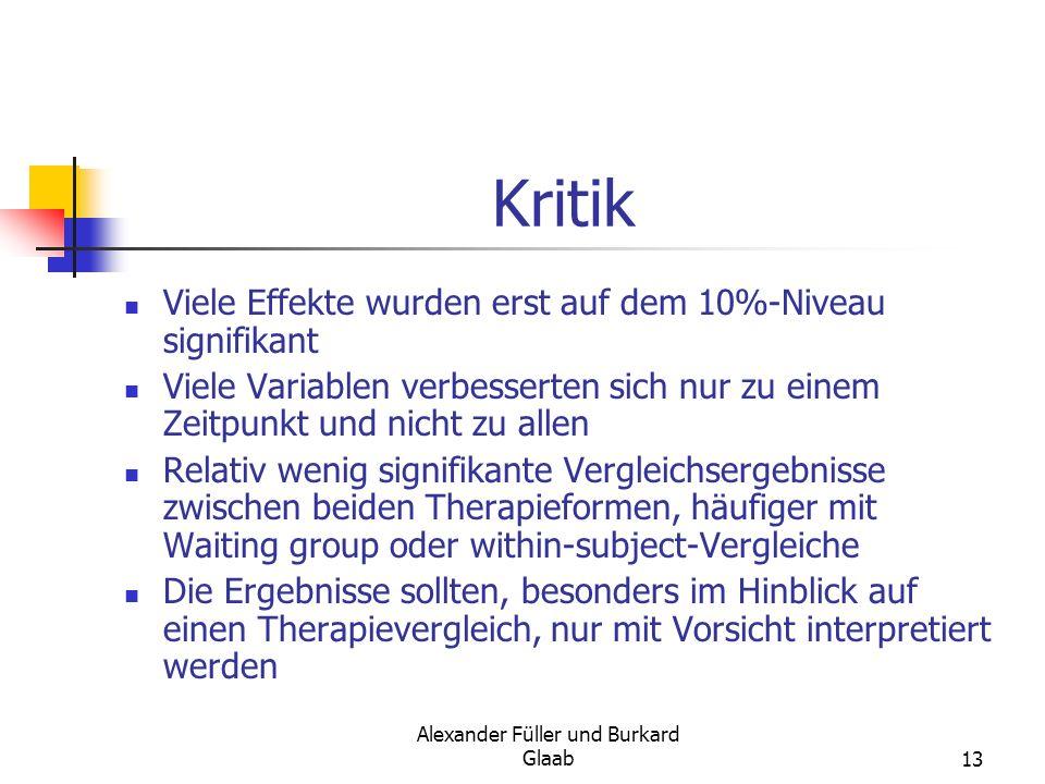 Alexander Füller und Burkard Glaab13 Kritik Viele Effekte wurden erst auf dem 10%-Niveau signifikant Viele Variablen verbesserten sich nur zu einem Ze