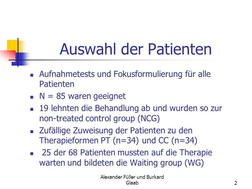 Alexander Füller und Burkard Glaab2 Auswahl der Patienten Aufnahmetests und Fokusformulierung für alle Patienten N = 85 waren geeignet 19 lehnten die