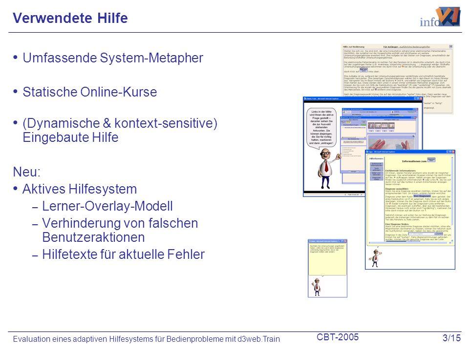 CBT-2005 3/15 Evaluation eines adaptiven Hilfesystems für Bedienprobleme mit d3web.Train Verwendete Hilfe Umfassende System-Metapher Statische Online-Kurse (Dynamische & kontext-sensitive) Eingebaute Hilfe Neu: Aktives Hilfesystem – Lerner-Overlay-Modell – Verhinderung von falschen Benutzeraktionen – Hilfetexte für aktuelle Fehler