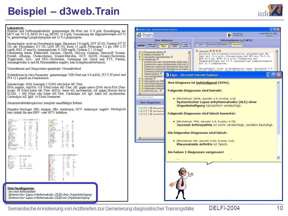 DELFI-200410 Semantische Annotierung von Arztbriefen zur Generierung diagnostischer Trainingsfälle Beispiel – d3web.Train