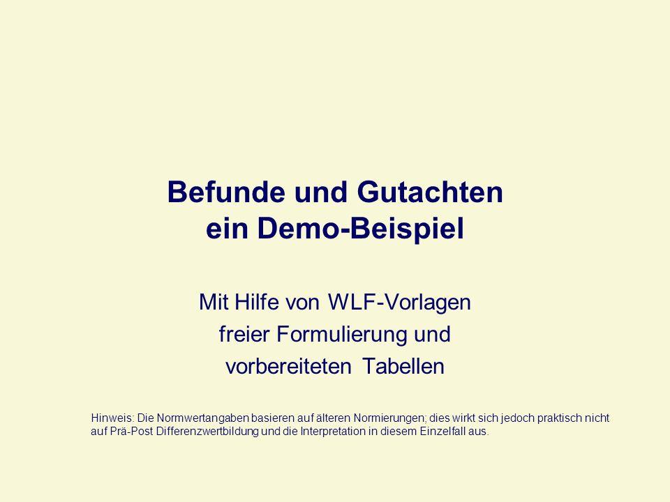 Befunde und Gutachten ein Demo-Beispiel Mit Hilfe von WLF-Vorlagen freier Formulierung und vorbereiteten Tabellen Hinweis: Die Normwertangaben basiere