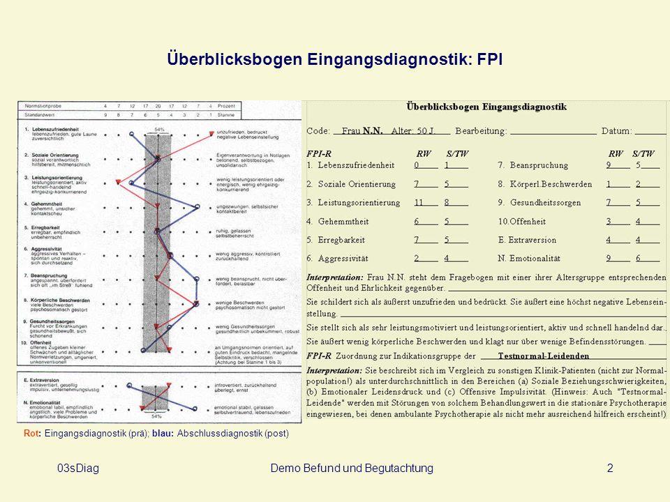 03sDiagDemo Befund und Begutachtung2 Überblicksbogen Eingangsdiagnostik: FPI Rot: Eingangsdiagnostik (prä); blau: Abschlussdiagnostik (post)