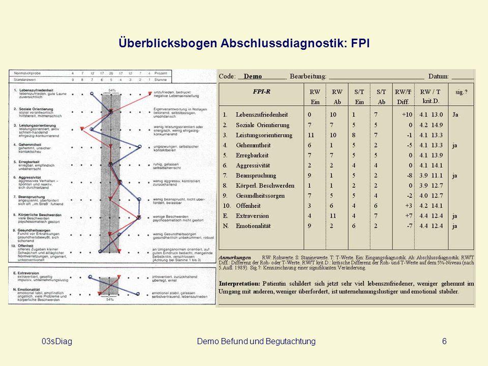 03sDiagDemo Befund und Begutachtung6 Überblicksbogen Abschlussdiagnostik: FPI