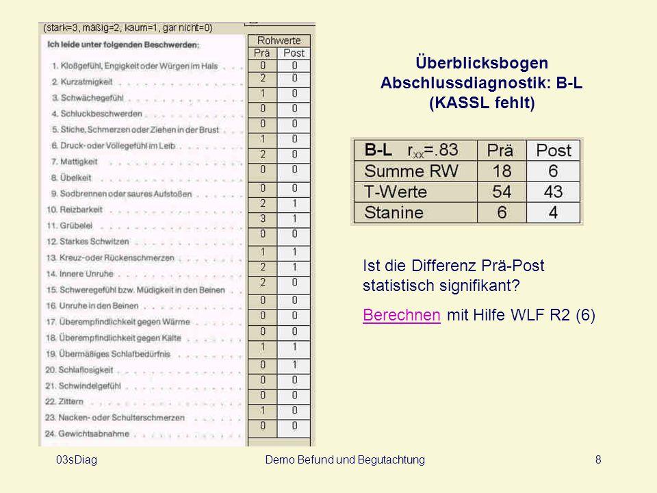 03sDiagDemo Befund und Begutachtung8 Überblicksbogen Abschlussdiagnostik: B-L (KASSL fehlt) Ist die Differenz Prä-Post statistisch signifikant? Berech