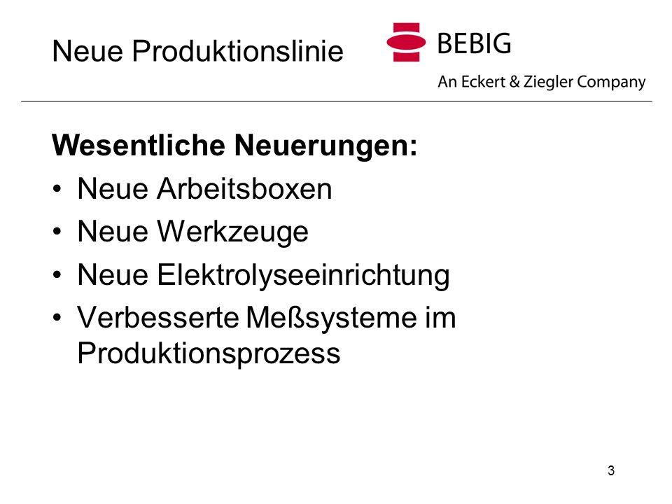 3 Neue Produktionslinie Wesentliche Neuerungen: Neue Arbeitsboxen Neue Werkzeuge Neue Elektrolyseeinrichtung Verbesserte Meßsysteme im Produktionsproz
