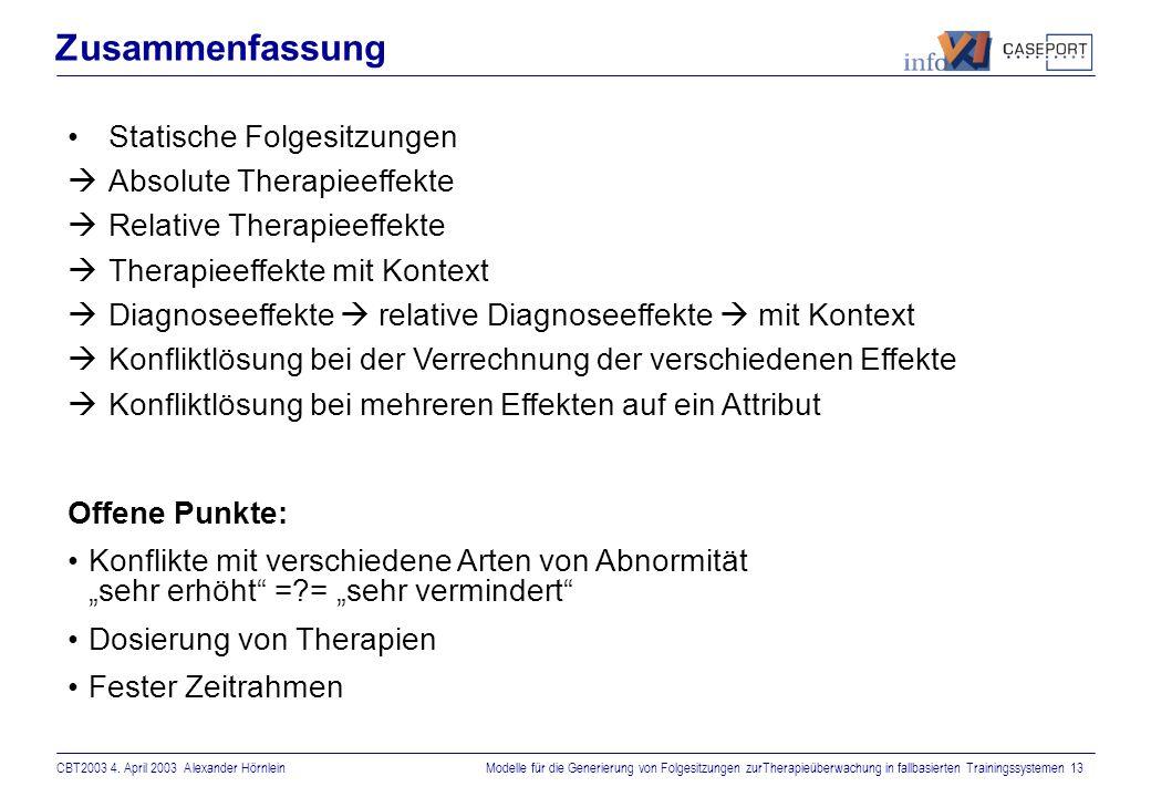 CBT2003 4. April 2003 Alexander HörnleinModelle für die Generierung von Folgesitzungen zurTherapieüberwachung in fallbasierten Trainingssystemen 12 Mu
