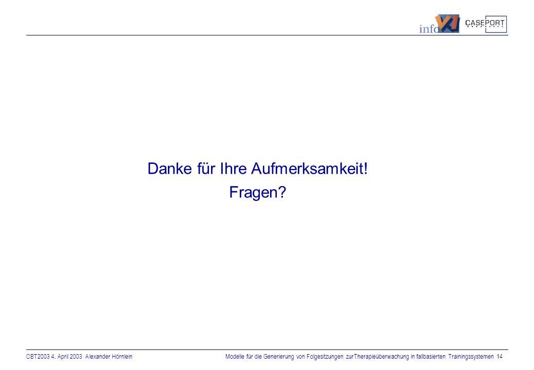 CBT2003 4. April 2003 Alexander HörnleinModelle für die Generierung von Folgesitzungen zurTherapieüberwachung in fallbasierten Trainingssystemen 13 Zu