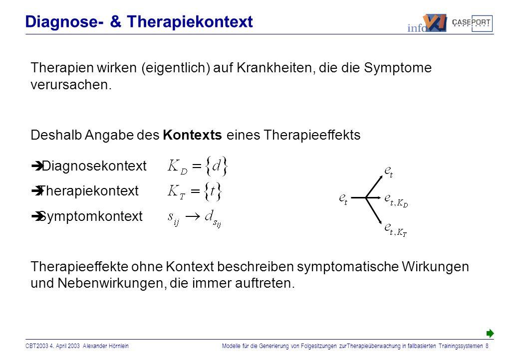 CBT2003 4. April 2003 Alexander HörnleinModelle für die Generierung von Folgesitzungen zurTherapieüberwachung in fallbasierten Trainingssystemen 7 Rel