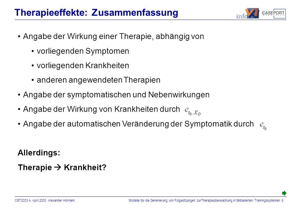 CBT2003 4. April 2003 Alexander HörnleinModelle für die Generierung von Folgesitzungen zurTherapieüberwachung in fallbasierten Trainingssystemen 8 The