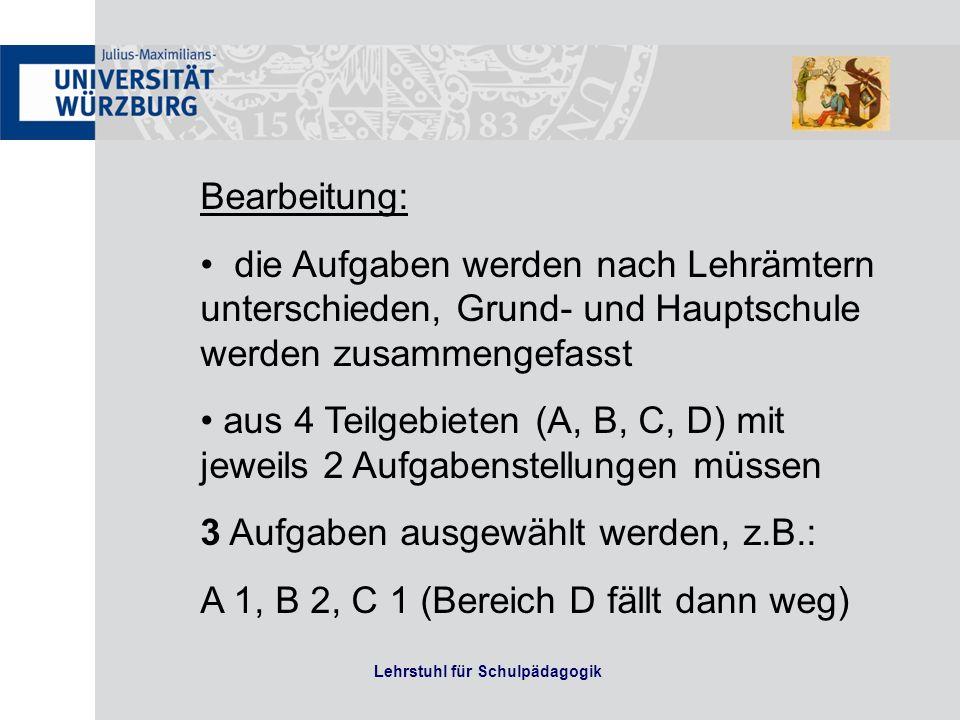 Lehrstuhl für Schulpädagogik Literatur zur mündlichen Prüfung Monographien (wie z.B.