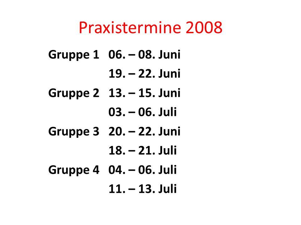 Praxistermine 2008 Gruppe 106. – 08. Juni 19. – 22.