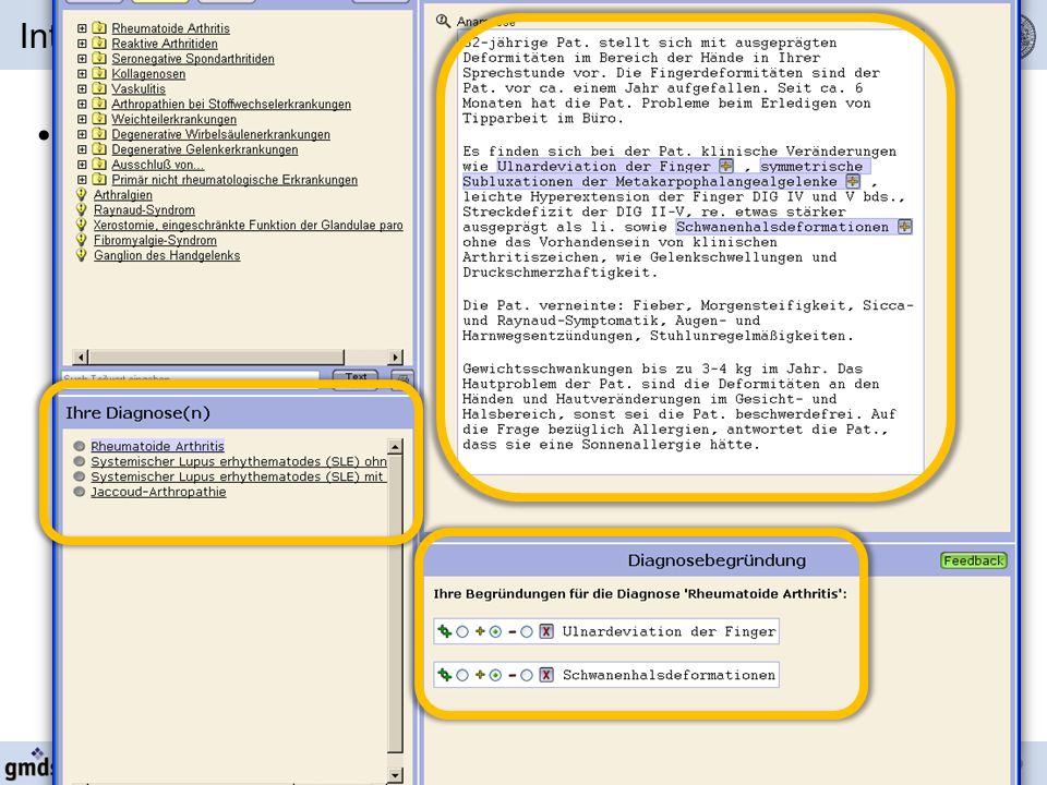 Intelligent self-adaptation of user interface complexity in a case-based medical training system CBT 2007 – 17./18.05.2007 Rostock Operationelle Komplexität Bsp.