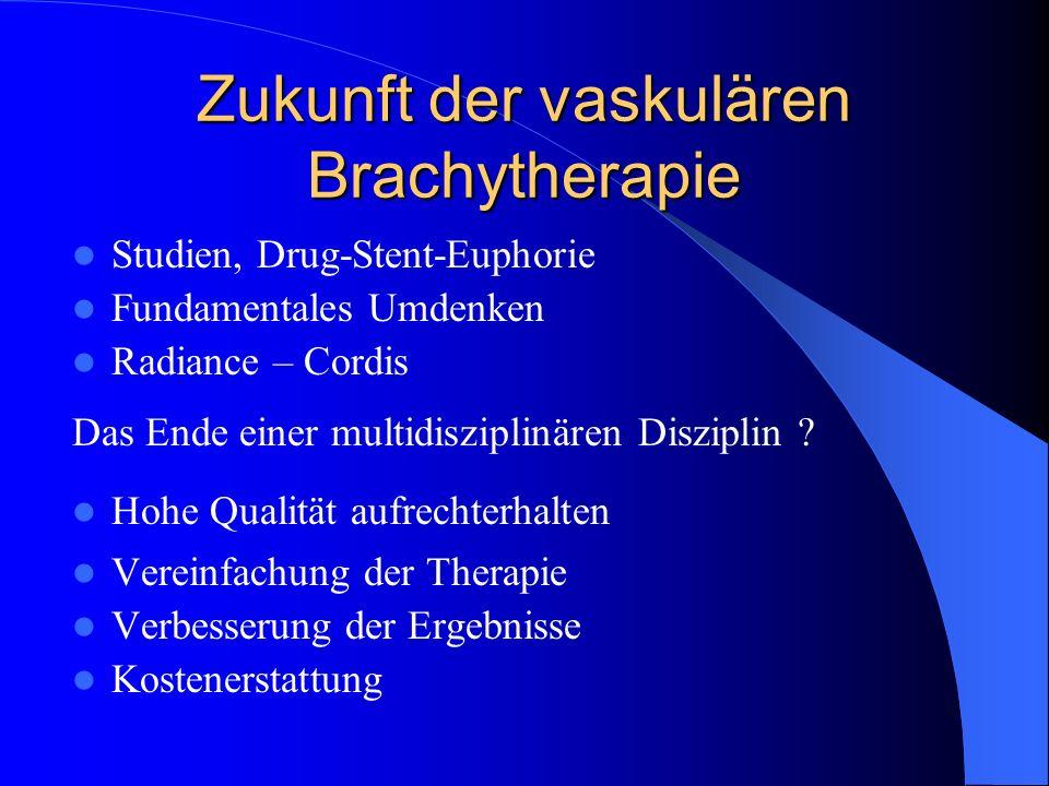 Zukunft der vaskulären Brachytherapie Studien, Drug-Stent-Euphorie Fundamentales Umdenken Radiance – Cordis Das Ende einer multidisziplinären Diszipli