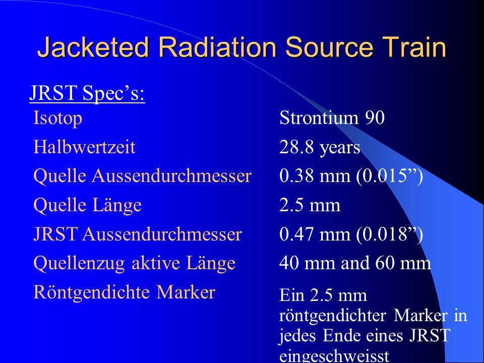 Jacketed Radiation Source Train JRST Specs: Isotop Halbwertzeit Quelle Aussendurchmesser Quelle Länge JRST Aussendurchmesser Quellenzug aktive Länge R