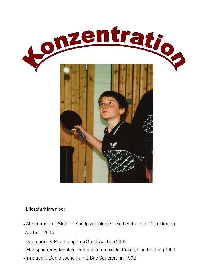 Literaturhinweise: - Baumann, S. Psychologie im Sport, Aachen 2006 - Eberspächer,H. Mentale Trainingsformenin der Praxis, Oberhaching 1990 - Innauer,