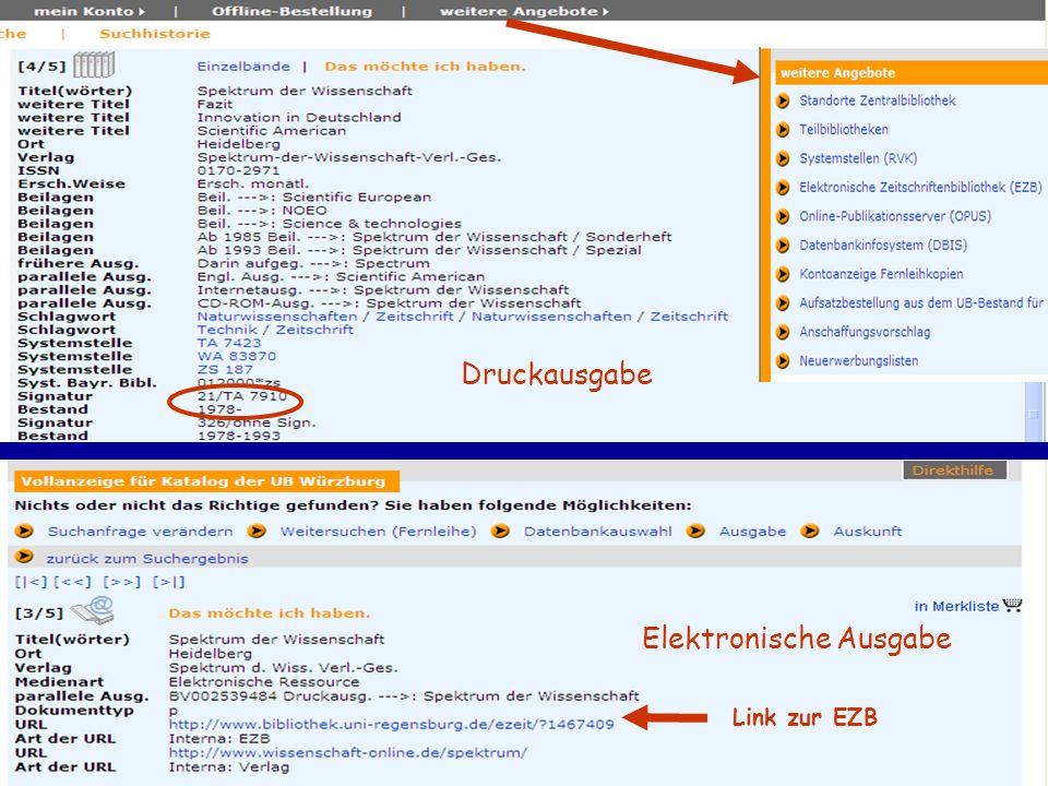 Druckausgabe Elektronische Ausgabe Link zur EZB