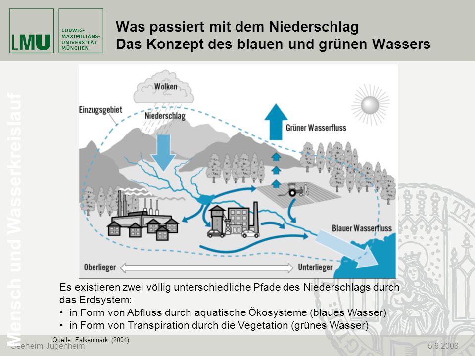 Seeheim-Jugenheim 5.6.2008 Was passiert mit dem Niederschlag Das Konzept des blauen und grünen Wassers Quelle: Falkenmark (2004) Es existieren zwei vö