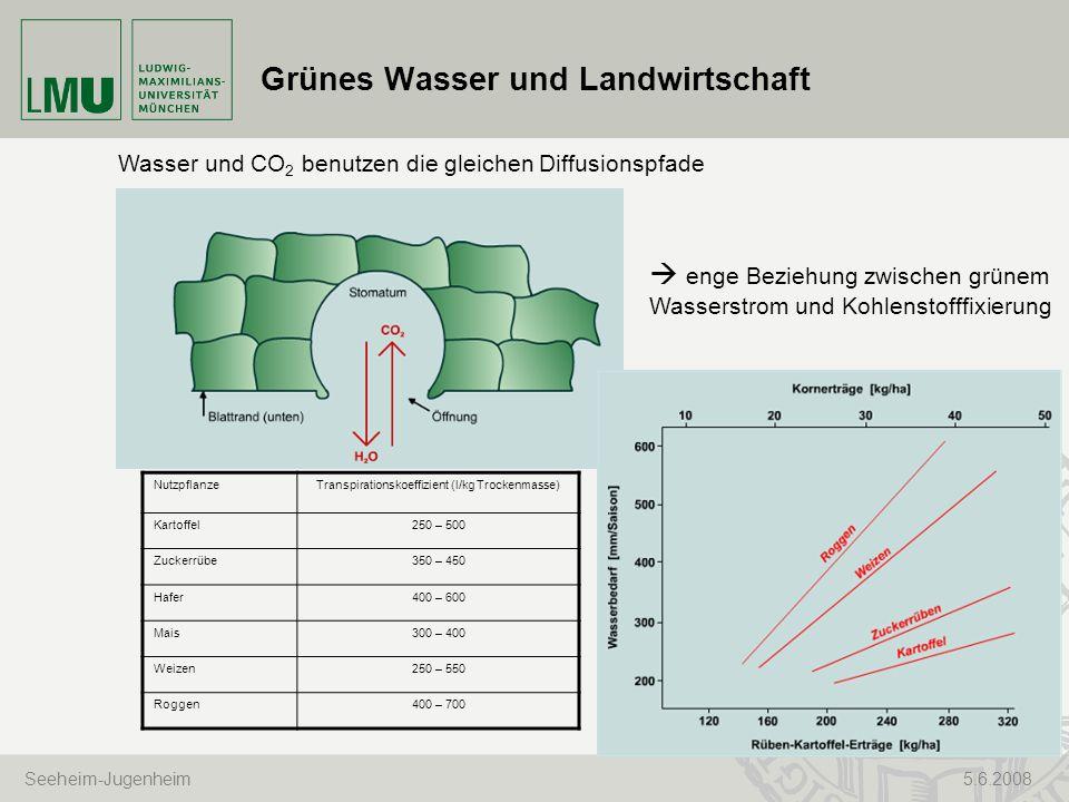 Seeheim-Jugenheim 5.6.2008 Grünes Wasser und Landwirtschaft Wasser und CO 2 benutzen die gleichen Diffusionspfade enge Beziehung zwischen grünem Wasse