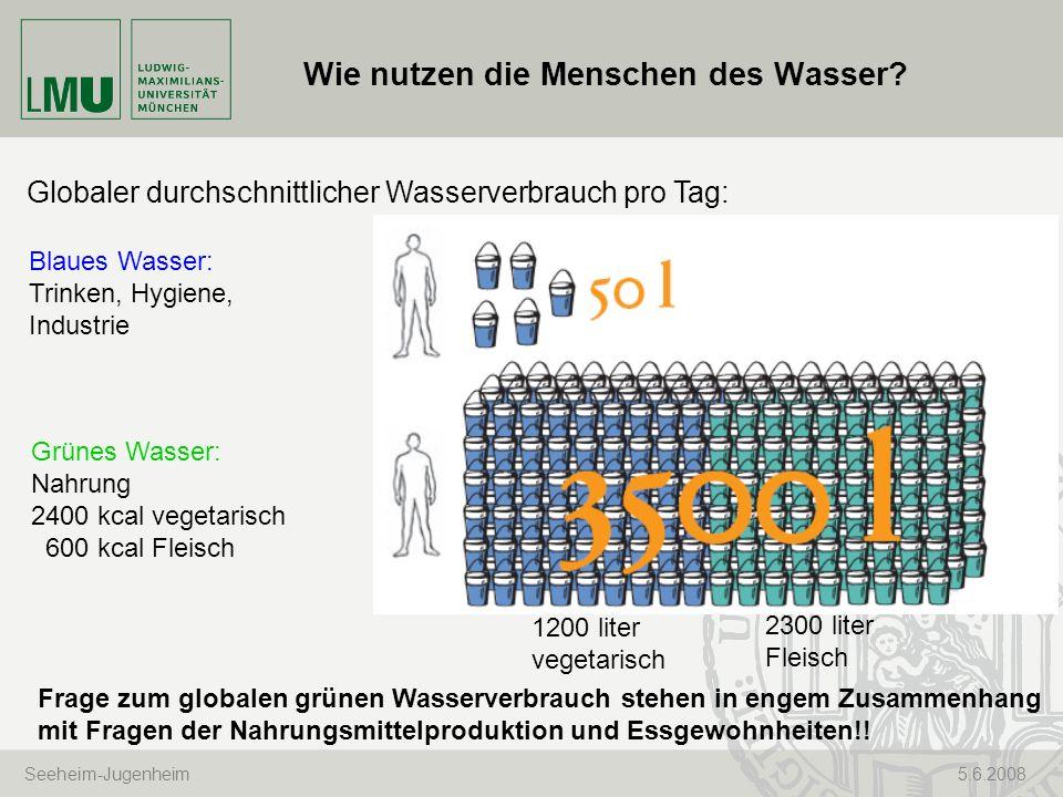 Seeheim-Jugenheim 5.6.2008 Wie nutzen die Menschen des Wasser? Globaler durchschnittlicher Wasserverbrauch pro Tag: Blaues Wasser: Trinken, Hygiene, I