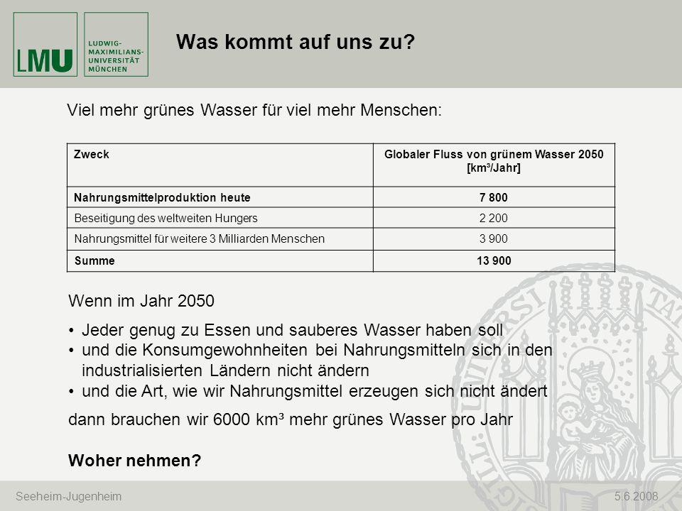 Seeheim-Jugenheim 5.6.2008 Was kommt auf uns zu? ZweckGlobaler Fluss von grünem Wasser 2050 [km³/Jahr] Nahrungsmittelproduktion heute7 800 Beseitigung