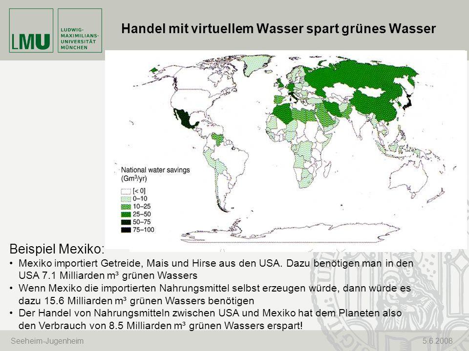 Seeheim-Jugenheim 5.6.2008 Handel mit virtuellem Wasser spart grünes Wasser Beispiel Mexiko: Mexiko importiert Getreide, Mais und Hirse aus den USA. D