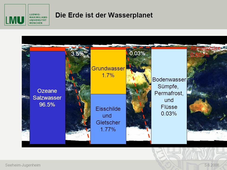 Seeheim-Jugenheim 5.6.2008 Die Erde ist der Wasserplanet Ozeane Salzwasser 96.5% Eisschilde und Gletscher 1.77% Grundwasser 1.7% 3.5% Bodenwasser Sümp