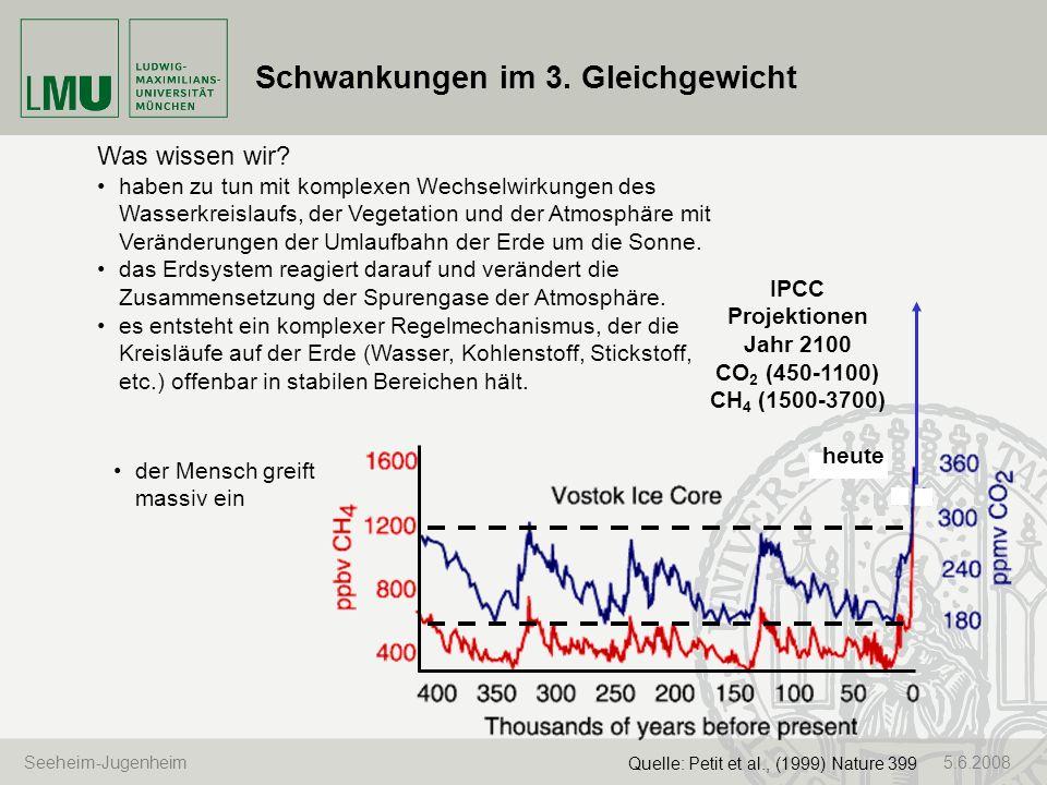 Seeheim-Jugenheim 5.6.2008 Schwankungen im 3. Gleichgewicht Quelle: Petit et al., (1999) Nature 399 Was wissen wir? haben zu tun mit komplexen Wechsel