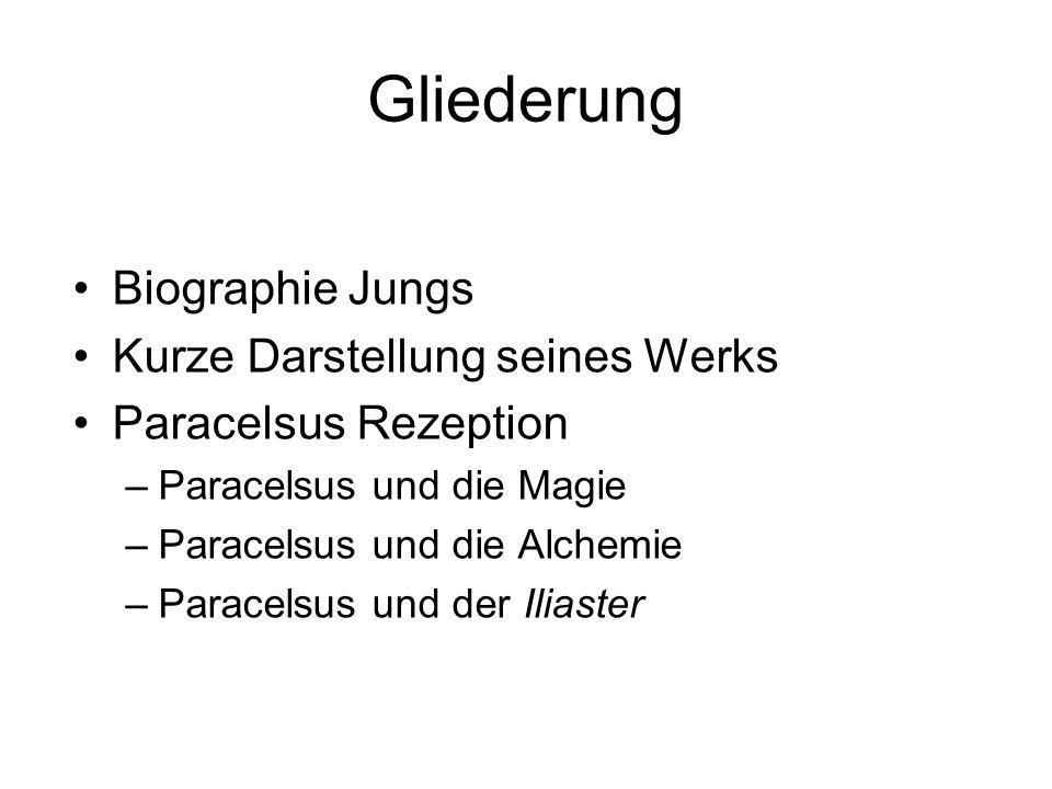 Gliederung Biographie Jungs Kurze Darstellung seines Werks Paracelsus Rezeption –Paracelsus und die Magie –Paracelsus und die Alchemie –Paracelsus und