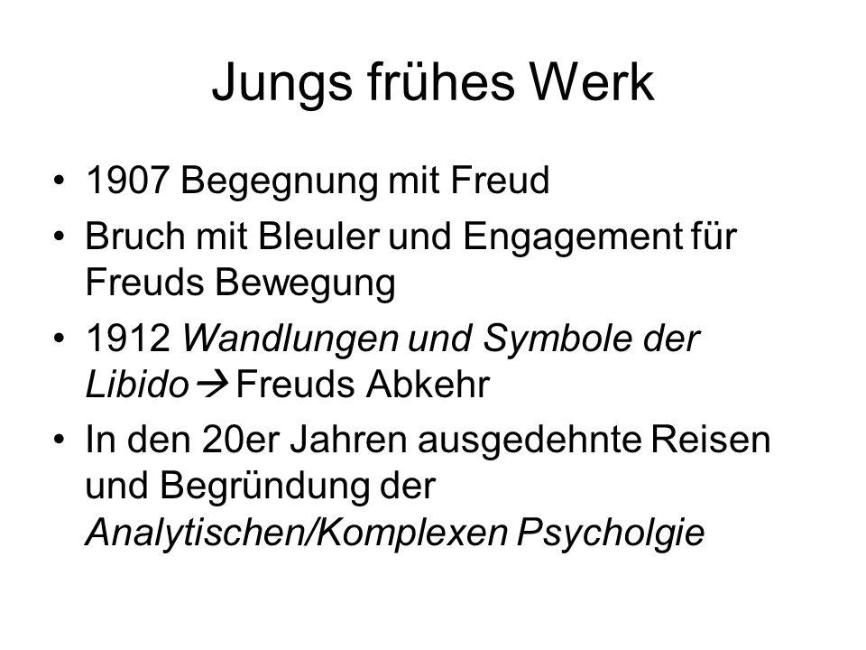 Jungs frühes Werk 1907 Begegnung mit Freud Bruch mit Bleuler und Engagement für Freuds Bewegung 1912 Wandlungen und Symbole der Libido Freuds Abkehr I