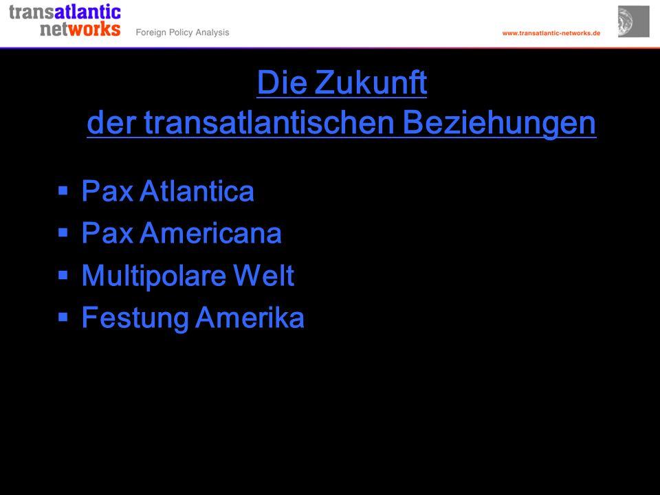 Die Zukunft der transatlantischen Beziehungen Pax Atlantica Pax Americana Multipolare Welt Festung Amerika