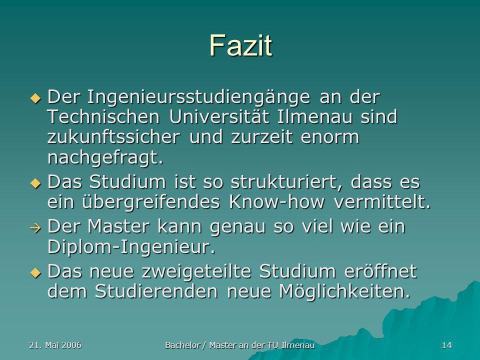 21. Mai 2006 Bachelor / Master an der TU Ilmenau 14 Fazit Der Ingenieursstudiengänge an der Technischen Universität Ilmenau sind zukunftssicher und zu