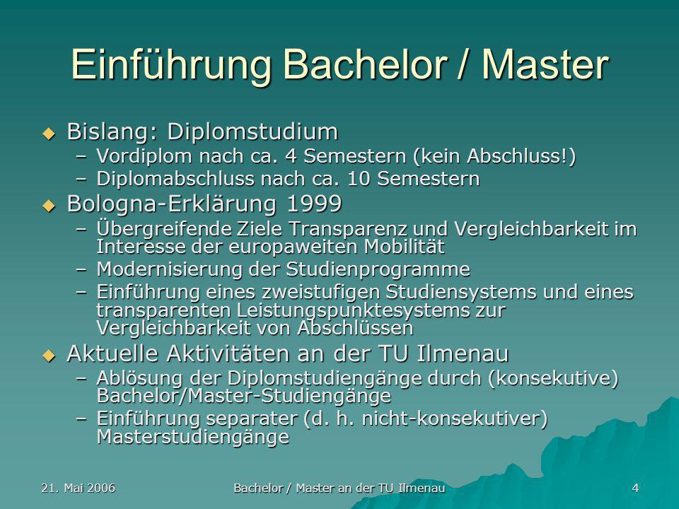 21. Mai 2006 Bachelor / Master an der TU Ilmenau 4 Einführung Bachelor / Master Bislang: Diplomstudium Bislang: Diplomstudium –Vordiplom nach ca. 4 Se