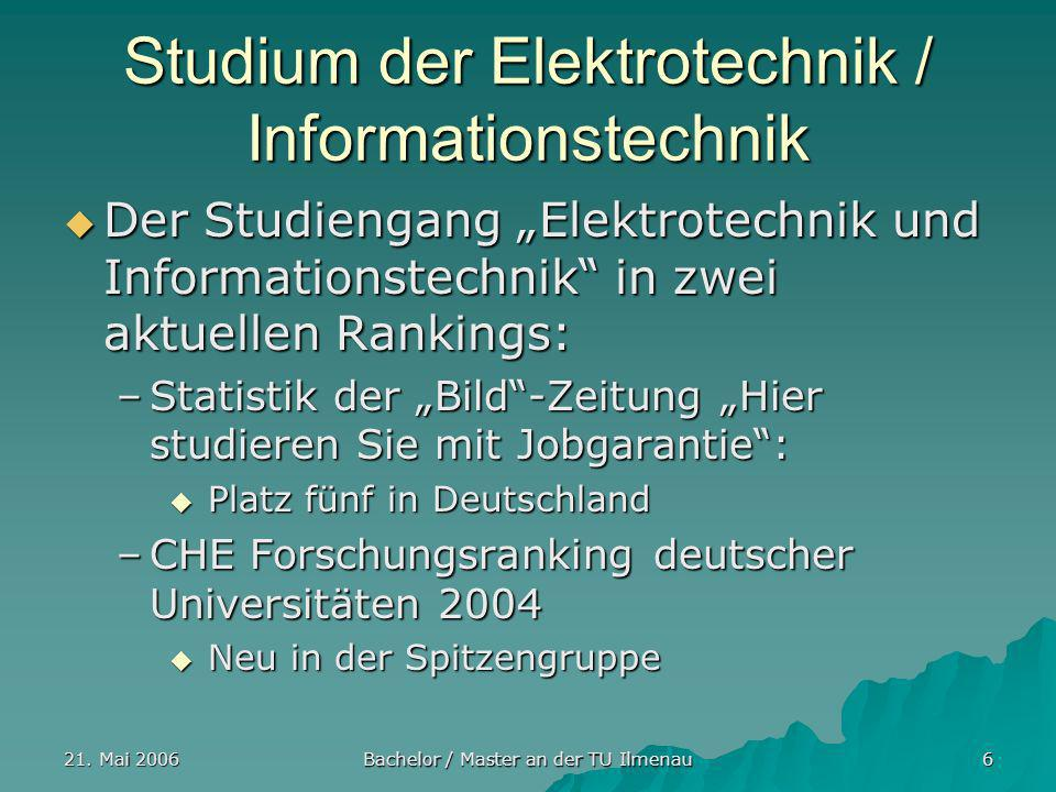 21. Mai 2006 Bachelor / Master an der TU Ilmenau 6 Studium der Elektrotechnik / Informationstechnik Der Studiengang Elektrotechnik und Informationstec