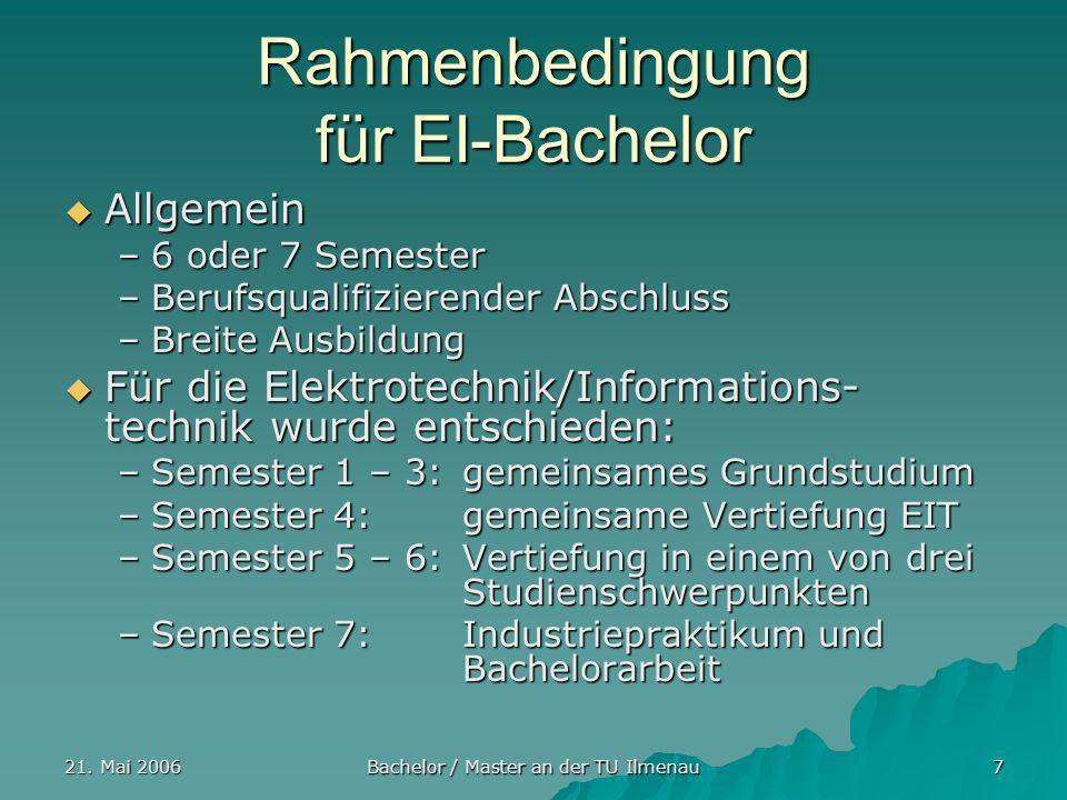 21. Mai 2006 Bachelor / Master an der TU Ilmenau 7 Rahmenbedingung für EI-Bachelor Allgemein Allgemein –6 oder 7 Semester –Berufsqualifizierender Absc