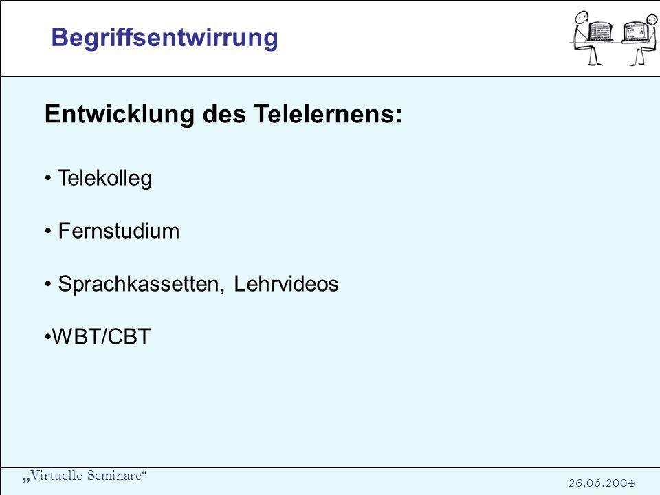 Virtuelle Seminare 26.05.2004 Begriffsentwirrung Entwicklung des Telelernens: Telekolleg Fernstudium Sprachkassetten, Lehrvideos WBT/CBT